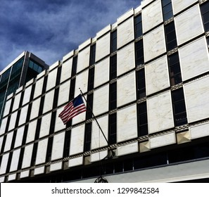 United States Embassy American Flag Reforma Avenue Mexico City Mexico
