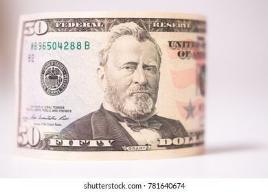 The United States fifty-dollar bill ($50) , selective focused high-aperture lens,