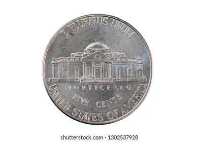 United States five cent nickel coin tail side with Monticello isolated on white