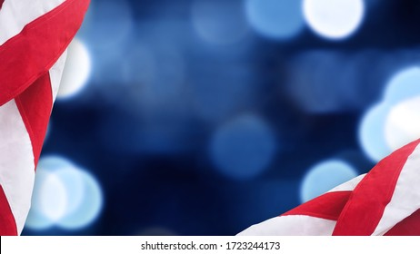 United States Flag Border Over Blue and Black Bokeh Lights Background With Copy Space For American Holidays