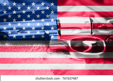 United States flag Gun Control USA. United States Gun Laws.