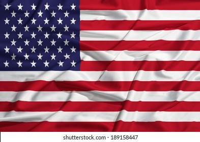 United States flag on a silk drape