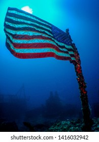 The United States Flag on the Sunken Wreck of the USCG Duane in Key Largo, Florida