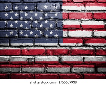 united states flag painting on wall