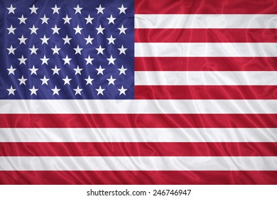 United States flag pattern on the fabric texture ,vintage style