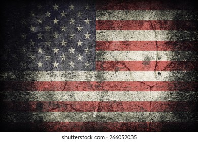 United States flag pattern on dirty old concrete wall texture ,retro vintage style