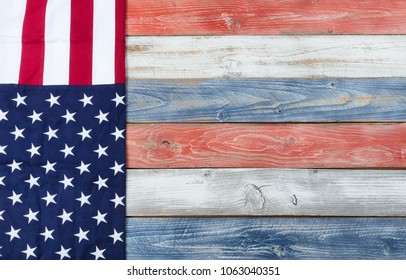 United States Flag and traditional US colors for holiday background
