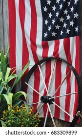 United States Flag with a wagon wheel