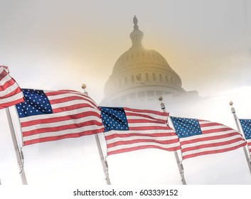 United States flags with Capitol building.