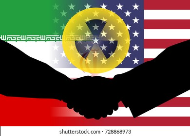 United States and Iran flag with handshake shadow and a nuclear symbol.