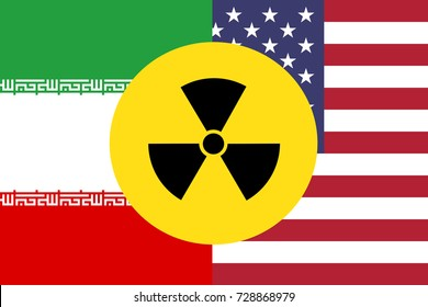 United States and Iran flag with nuclear symbol.