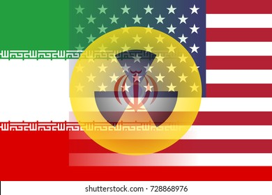 United States and Iran flag with semi-transparent nuclear symbol at the center.