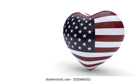 United States join concept of love background, 3d render