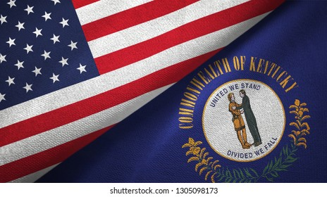 United States and Kentucky state two flags textile cloth, fabric texture