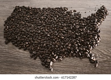 United states map with coffee beans