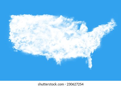 United States map shape clouds