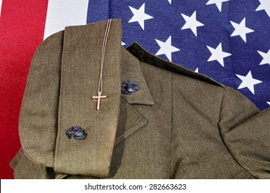 United States Military American Faith Pendant and American Flag - Shutterstock ID 282663623