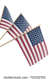 United States, multiple small flags hanging, isolated on white background