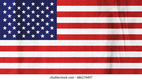 The United States national flag from fabric for graphic design.