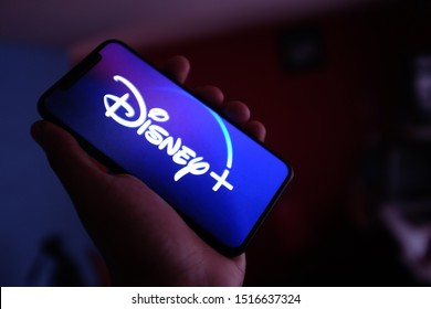United States, New York. Saturday September 28, 2019. iphone 11 pro with the new Disney Plus service. Disney + will be an online video streaming subscription service.