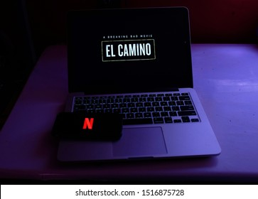 "United States, New York, Saturday, September 28, 2019. Macbook with the logo of the movie ""The Way: A Breaking Bad"" and Iphone 11 pro with the Netlfix logo. Netflix, is a monthly online television ser"