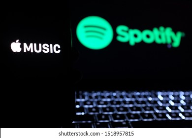United States New York. Tuesday, October 1, 2019: Apple Music and Spotify application logo. Apple Music and Spotify the most popular music streaming services.