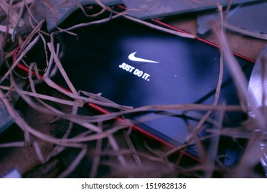 United States New York. Tuesday, October 1, 2019. Iphone 11 pro with the Nike Just do it logo. Nike, Inc. is an American multinational company dedicated to the design of sporting goods among others.