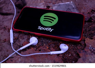 United States New York. Tuesday, October 1, 2019. EarPods and Iphone 11 pro with the Spotify logo. Spotify is a Swedish multiplatform application, used for music playback via streaming.