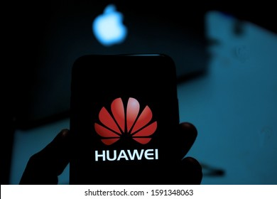 United States New York. Tuesday, October 1, 2019: Apple and Huawei logo. Apple and Huawei are companies dedicated to technology.