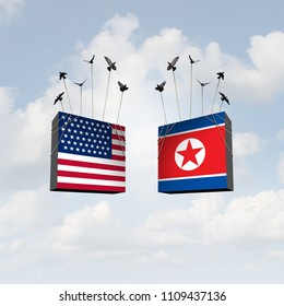 United States and North Korea diplomacy agreement and American and North Korean diplomatic meeting with pyongyang and washington connecting together as a 3D illustration.