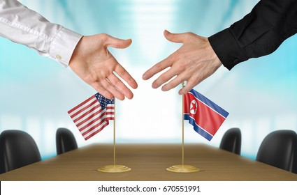United States and North Korea diplomats shaking hands to agree deal, part 3D rendering