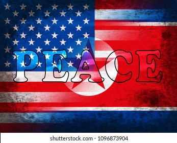 United States North Korean Peace Word 3d Illustration. Pacifist Freedom And Nuclear Accord Between Trump And Kim Jong Un Dprk Cooperation Talks