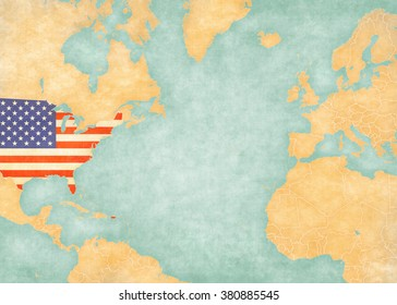 United States on the map of North Atlantic Ocean. The Map is in vintage summer style and sunny mood. The map has soft grunge and vintage atmosphere, like watercolor painting on old paper.