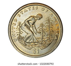 United States one dollar coin showing a native American woman planting seeds