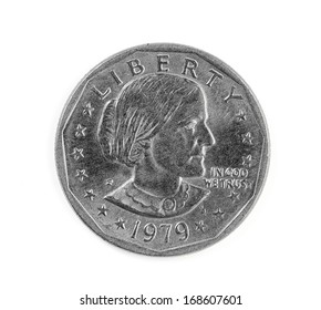 United States one dollar coin year 1979 isolated on white background