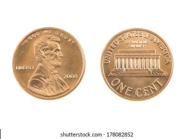 United States Penny on white background..