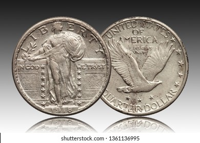 United States quarter dollar 1918 silver coin