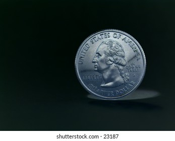 United States quarter taken in negative style