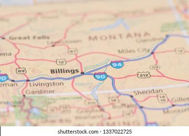 United States road map Billings, Montana