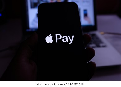 United States, Saturday, September 28, 2019. Iphone 11 pro with the Apple Pay  logo. (It is a mobile payment service created by Apple that was presented on September 9, 2014 in its Keynote.)