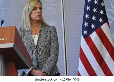 United States Secretary of Homeland Security Kirstjen Nielsen  speaks during  a meeting to talking about Migration and Security between Mexico- U.S as part of her working visit to Mexico at  Ministry