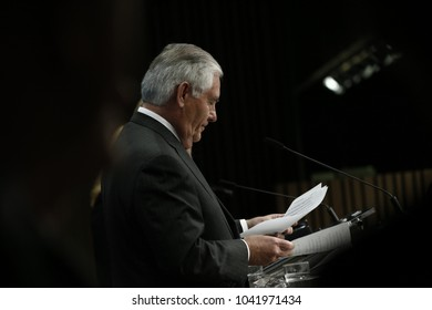 United States Secretary of State Rex Tillerson gives a press conference at the European Union headquarters in Brussels, Belgium on Dec. 5, 2017.