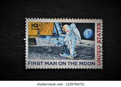 United States Stamp Of The First Man On Moon Rome Italy