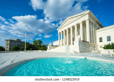 United States Supreme Court building exterior with bright fountain in the foreground