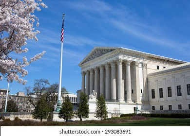 United States Supreme Court building and grounds with US Flag and cherry blossoms on tree.