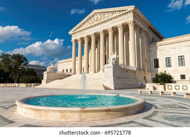 United States Supreme Court Building at sunset in Washington DC, USA.