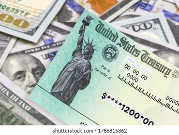 United States Treasury check, ssn card with US currency. Coronavirus economic impact stimulus payments or IRS tax refund on isolated background