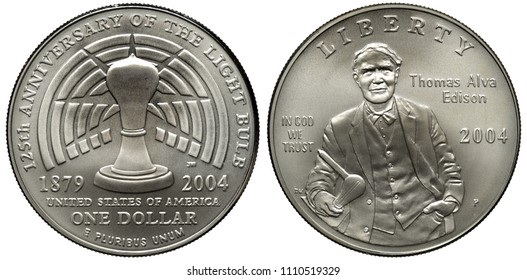 United States US silver coin 1 one dollar 2004, subject 125th Anniversary of Electric Bulb, light bulb on radiant background in center, Thomas Alva Edison,