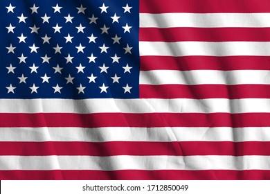 United States , USA  Flag on Fabric texture