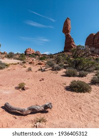 United States. Utah. Arches National Park. Balanced Rock. Its height is about 128 feet (39 m), with a balancing rock rising 55 feet (16.75 m) above the base.